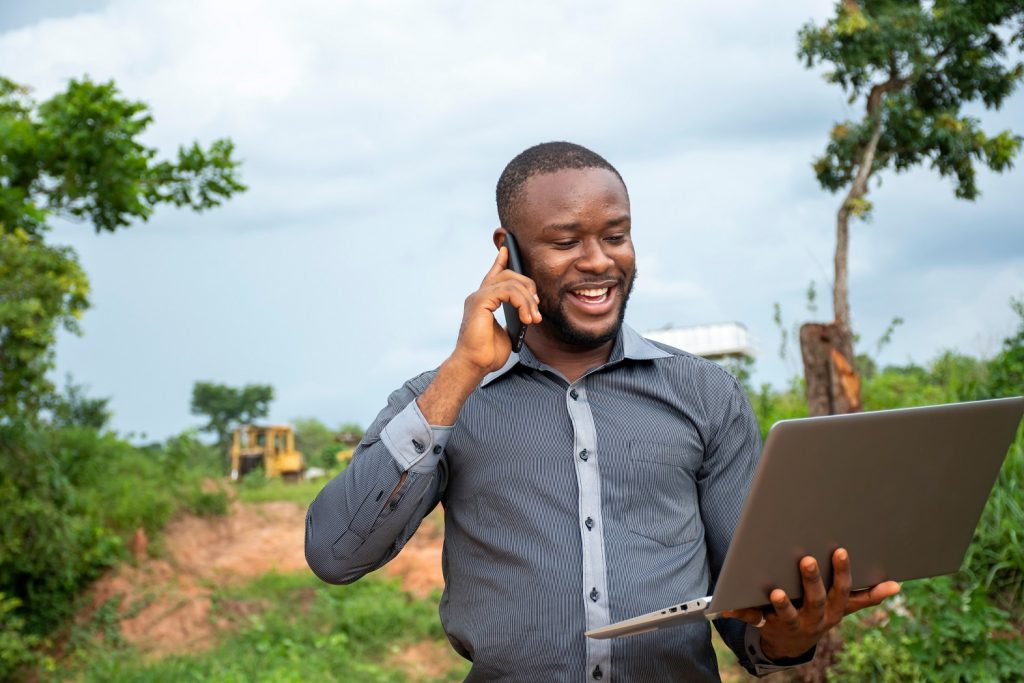 Careers in agriculture- man speaking on phone